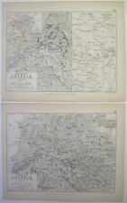 1848 carta Piano Battaglia di Lipsia nel 1813 dalla storia dell'Europa Atlante da Alison