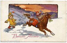 BONNE ANNéE. ENFANTS NEIGE. CHEVAL . HORSE. CHILDREN . SNOW. ARTIST SIGNED