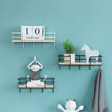 Wall Mounted Shelf Wire Rack Storage Unit With Hooks Basket Key Hanging Hanger