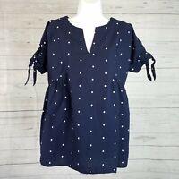 Isabel Maternity Womens Top Sz XS Blue White Polka Dot Short Sleeve