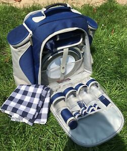 CONCEPT 4 PERSON PICNIC BACKPACK COOL BAG BLUE GREY W 50 CM D 25 CM H 43 CM USED