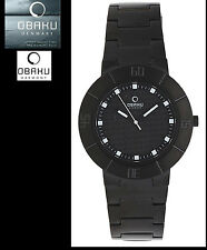 Luxury & Sports Obaku Unisex Black Steel Watch V140GBBSB with box-papiere NEW
