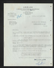 """PARIS (VIII°) UNION ELECTRIQUE COLONIALE """"Exploitation de BRAZZAVILLE"""" en 1950"""