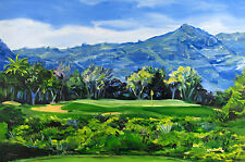 large original golf painting Kauai Lagoons Par 3 contemporary Hawaii landscape