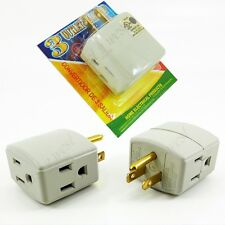 2 Pcs. 3 Way Triple Outlet Power Adapter 3-Prong UL Grounded Outlet Wall tap NEW