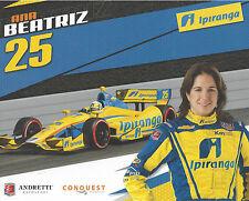 "2012 INDY 500 ANA BEATRIZ BRAZIL INDYCAR 8 ""X10"" HERO CARD !"
