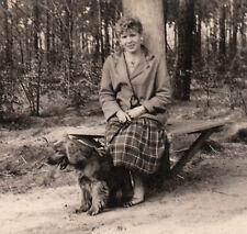 Vintage Photo lady n Plaid w Cocker Spaniel dog n Woods