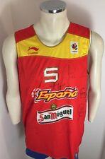 CAMISETA ESPAÑA BASQUET BASKETBALL SHIRT RUDY #5 JERSEY HAND SIGNED SPAIN XL