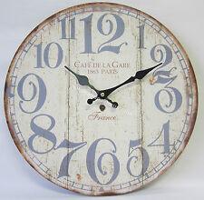 34cm Rustic French Provincial Country Wall Clock Cafe De La Gare 1863 Paris BNIP