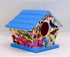 Handmade Ceramic Decoupage Birdhouse, Birds, Floral