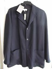 £1000 BNWT ERMENEGILDO ZEGNA 100% SILK NAVY BLUE LONG BLAZER JACKET SIZE XL 44