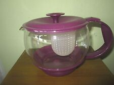 EMSA W. Germany Clear Glass Teapot with Infuser Strainer - purple lid