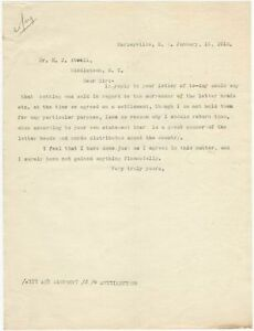 1912 Letter About Surrender of Letterheads & Why That's Not Going to Happen