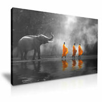 ELEPHANT BUDDHIST MONKS CANVAS WALL ART PICTURE PRINT VARIOUS SIZES