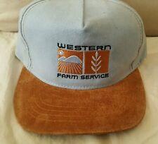 Western Farm Service Adjustable Hat Otto Cap Light Blue Brown Leather Strap Farm