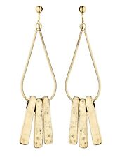Clip On Earrings - antique gold plated drop earring with three bars - Kaila