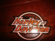 "HARLEY DAVIDSON VINTAGE CIRCLE ORANGE/BLK/WHITE DECALS 3"" X 2 1/8/"" (INSIDE) NEW"