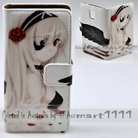 For HTC Series Black Angel Anime Theme Print Flip Case Wallet Mobile Phone Cover