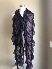Ralph Lauren Purple Label Hunting Green Ruffle Silk Scarf Wrap 99 X 15