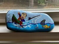 Humorous Painted Rock w/Fisherman & Fish Holding a Shark Fin Hand painted unique