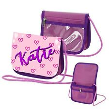 Personalised Hearts Any Name Childrens Small Coin/Purse Bag with Shoulder Strap
