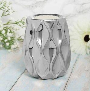 Silver Wave Wax Melt Oil Burner Tealight Holder Diffuser Aroma Ornament Gift