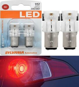 Sylvania Premium LED Light 1157 Red Two Bulbs Front Turn Signal Replace Show Use