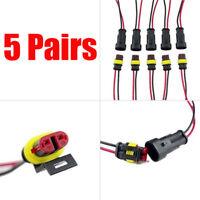 5 Pairs Conector Eléctrico Estanco Línea De 2 Pin Cable Del Coche