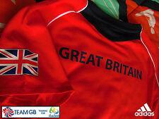 "ADIDAS TEAM GB ISSUE RIO 2016 ELITE ATHLETE RED EVENT T-SHIRT Size 6 Chest 32"""