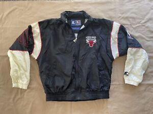 Vintage Chicago Bulls Starter Zip Up Windbreaker Basketball Jacket w/ Hood Large