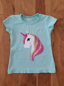 Mädchen T-Shirt Wendepailletten 116 122 Einhorn
