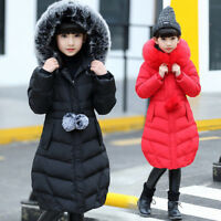 Winter Girls Kids Padded Quilted Coats Puffer Jackets Big Fur Hooded Long Parka