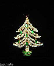RARE VINTAGE KRAMER CHRISTMAS TREE PIN w/CANDLES, book piece