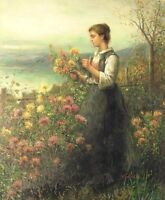 "Lady Picking Wild Flowers, 24""x20"" Oil Painting on Canvas, Genuine hand painted"