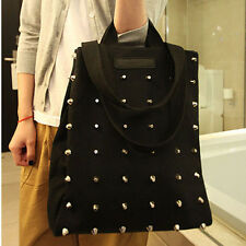 Womens Canvas Tote Bags Punk Style Rivet Studded Handbag Shoulder Bag Purse