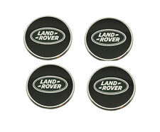 Land Rover Black with Green Oval Polished Genuine Wheel Center Hub Caps Set