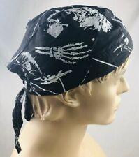 Black Doo Rag head wrap Skull Cap Biker Durag Skeleton Pattern NEW