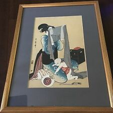 Kitagawa Utamaro Ukiyo-E  Wood Block Print Left Triptych Of Women Sewing