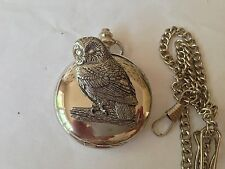 B3 Tawny Owl  polished silver case mens GIFT quartz pocket watch fob