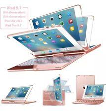Keyboard Case for iPad 9.7 SENGBIRCH 7Colors Backlit Wireless Keyboard/Rose Gold