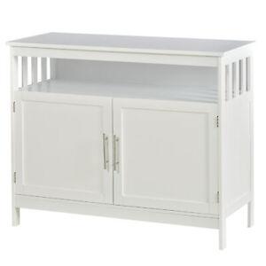Modern Hutch Wooden Kitchen Storage Cabinet Display Shelves Buffet Table White