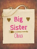 Large Personalised Big Sister Birthday Gift  Tote Bag children's Cotton Natural