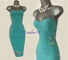 KAREN MILLEN UK 8 Turquoise Embroidered Straps Party Prom Evening Pencil Dress