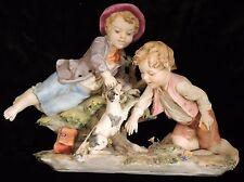 TRIADE - L'arte Della Porcellana- Benacchio Figurine– Boys Playing With Dog #718