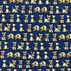 100% REAL SALVATORE FERRAGAMO TIE - NAVY BLUE & GOLD w FUN PUPPY DOGS PLAYING