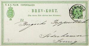 DENMARK 1877 10ore POSTCARD COPENHAGEN TO SWITZERLAND