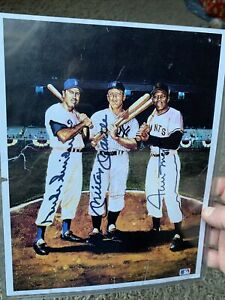 Mickey Mantle, Willie Mays, Duke Snider Autographed 8x10 Damaged Ron Lewis
