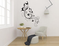 Butterfly Flower Vine Floral Transfer Wall Art Sticker Decal Home Decor FL26