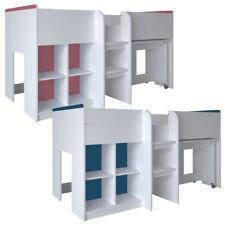 Hochbett weiß mit Schreibtisch Schrank Leiter Kinderbett 90 x 190 cm für Kinder