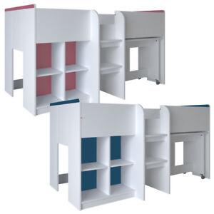 Hochbett weiß mit rosa blau Schreibtisch Schrank Leiter Kinderbett ~90 x 190 cm